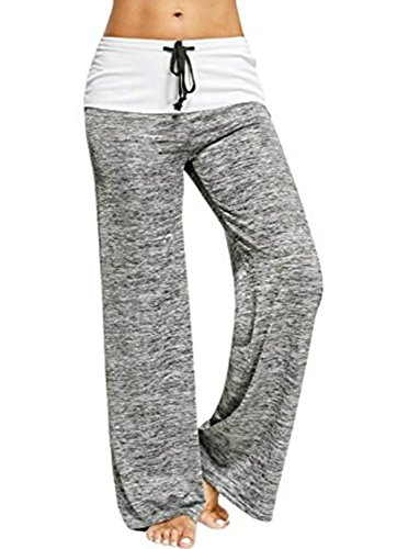 Roselux Women's Stretch Comfy High Waisted Drawstring Lounge Loose Wide Leg Yoga Pants(Gray,S)