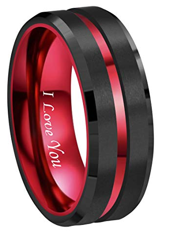 RoyalKay 8mm Red Black Tungsten Wedding Band Ring Men Women Matte Finish Polished Red Groove Engraved I Love You Comfort Fit Size 6 to 16(8mm,10) ()