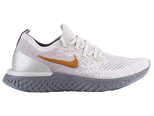 Nike Womens Epic React Flyknit Running Shoes (9.5, Grey/Gold)