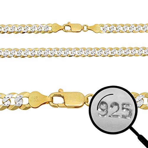 Harlembling Men's Flat Cuban Chain Or Bracelet - 14k Gold Over Solid 925 Sterling Silver - Made in Italy - Two Tone Diamond Cut (26