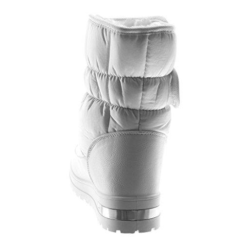 Angkorly Zapatillas Moda Botas Botas de Nieve Mujer Zapato Acolchado Tacón Ancho Alto 3.5 cm Forrada de Piel Blanco