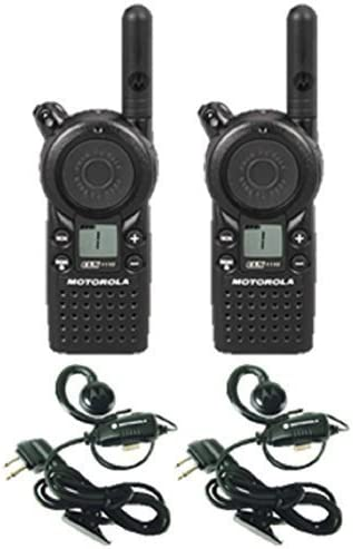 2 Pack of Motorola CLS1110 Two Way Radio Walkie Talkies with Headsets