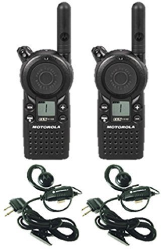 2 Pack of Motorola CLS1110 Two Way Radio Walkie Talkies with Headsets by Motorola Solutions