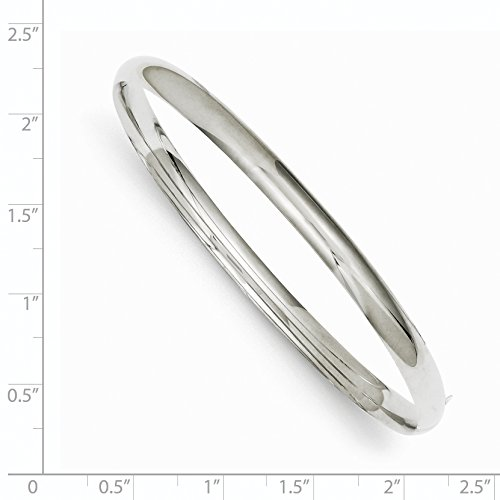 14k 7.5in White Gold High Polished 4.0mm Hinged Bangle