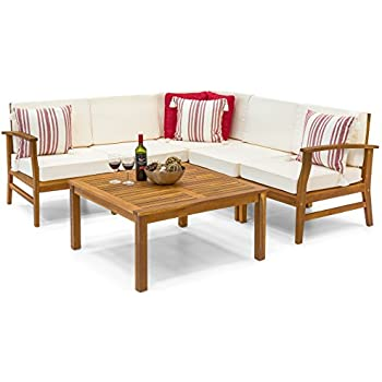 f868ec714cd Best Choice Products 6-Piece Acacia Wood L-Shape Sectional Sofa Set  Furniture W Water Resistant Cushions (Natural Brown)