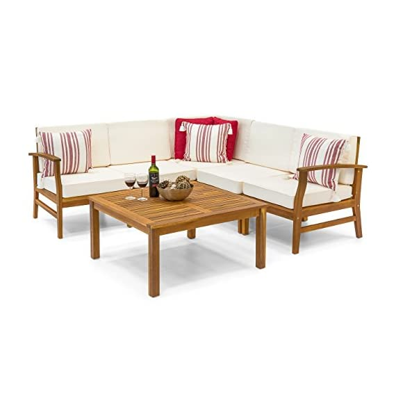 Best Choice Products 6-Piece Acacia Wood L-Shape Sectional Sofa Set Furniture W Water Resistant Cushions (Natural Brown) - Strong and durable acacia wood construction, ensuring a piece of outdoor furniture that will last for years to come Water-resistant cushions repel water and are thoroughly padded for comfortable lounging Sectional patio set includes: 2 armless chairs, 1 left arm chair, 1 right arm chair, 1 corner chair, 1 table - patio-furniture, patio, conversation-sets - 41Hf05l%2BnHL. SS570  -