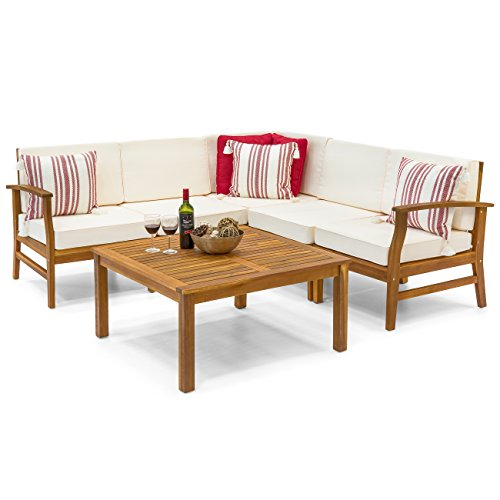 Best Choice Products 6-Piece Acacia Wood L-Shape Sectional Sofa Set Furniture W Water Resistant Cushions (Natural Brown) Acacia Outdoor Furniture