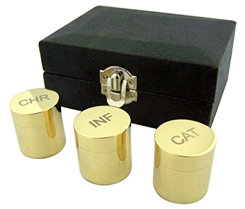 Engraved CHR INF and CAT on Polished Brass Holy Oil Stocks in Case