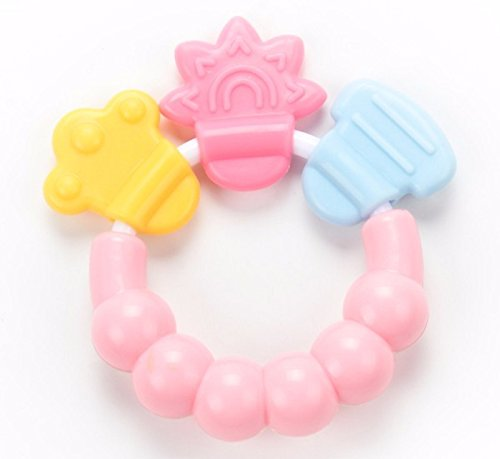 Baby Chewbacca Costume Diy (Hot Sale! 1Pcs Rattle Rings Teethers Silicone Baby Teether Massager Infant Training Tooth Cute Toddler Bell Toys Mordedor De Silicone (Pink))