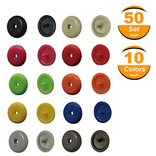 Seat Belt Stop Button   Buttons Prevent Seatbelt Buckle from Sliding Down the Belt   Set of 50 Plastic Seat-belt Stopper Clips   Snap-On System, No Welding Required (10 colors) ()