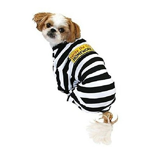 Prisoner Dog Pet Costumes (Homework Eater Dog Prisoner Costume Write the Crime Pet Pajamas)