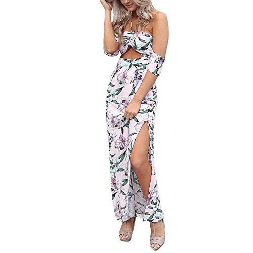 WEUIE Hot Sale Women Sexy Floral Printed Hanging Neck Backless Lace-up Split Hem Long Dress - Petal Dress Silk Hem