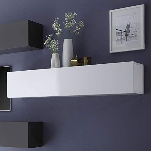 Meuble Tv Suspendu Blanc Design 140 Cm Cubo Amazon Fr
