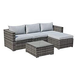 Garden and Outdoor Patiorama 5 Piece Outdoor Patio Furniture Set, Outdoor Sectional Conversation Set, All-Weather Grey PE Wicker w/Light… patio furniture sets