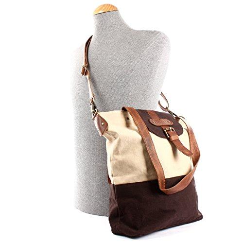 LECONI look Large Vintage 38x35x11cm bandoulière et shopping à moka Sac de sac dames à main pour toile cuir LE0053 dames beige C Sac en pour r6rCX
