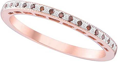 10K Rose Gold Dark Brandy Diamond Chocolate Brown Dainty Band Ring 1/12 Ctw.