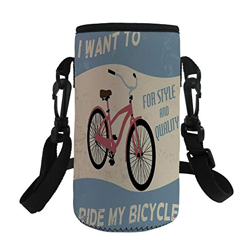 iPrint Small Water Bottle Sleeve Neoprene Bottle Cover,1960s Decor,I Want to Ride My Bicycle Style Quality Bike Tour Vintage Grunge Poster Style Art Decorative,Great Stainless Steel Plastic/ by iPrint