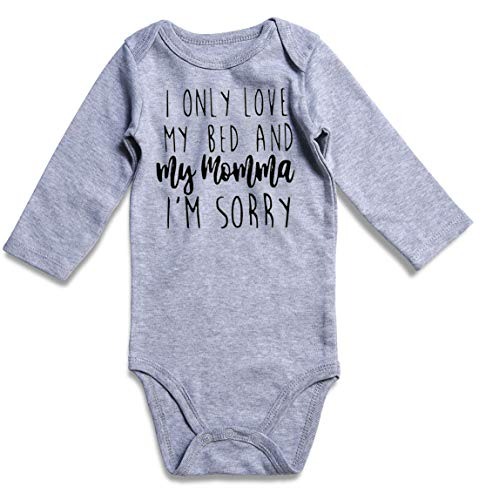 ies for Boys I Only Love My Bed and My Momma Im Sorry Romper 1st Birthday Gift ()