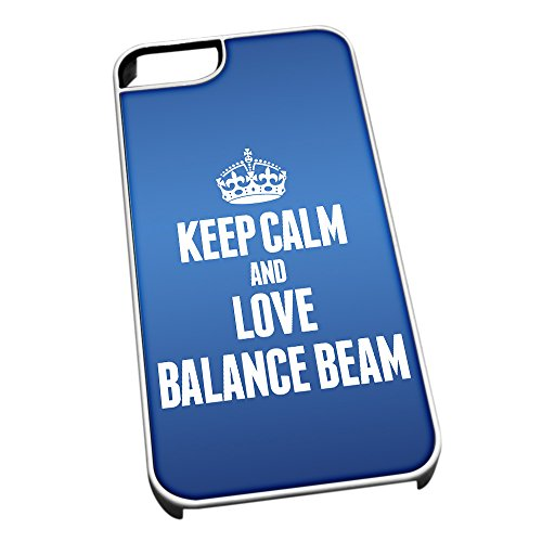 Bianco cover per iPhone 5/5S, blu 1691 Keep Calm and Love Balance Beam