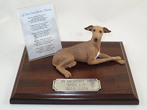 Italian Personalized Cross - Beautiful Walnut Finished Personalized Memorial Plaque With Italian Greyhound Figurine