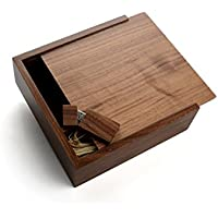 Walnut Wooden 2.0 USB Flash Drive - Inserted into a Matching Walnut Photo Box with Raffia grass inside. Holds 4x6 Photographs (16GB)