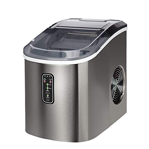 Euhomy Countertop Ice Maker Machine, Makes 26 lbs Ice in 24 hrs-Ice Cubes Ready in 9 Mins, Compact&Lightweight Ice Maker with Ice Scoop and Basket. (Silver)