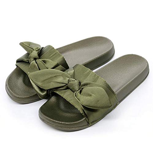 Brand Women's Summer Solid PVC Flat Indoor Non-Slip Bow Slippers Women's Silk Butterfly-Knot Home Slippers Beach Slippers Green 6.5