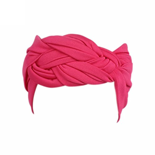 Price comparison product image Besooly Sports Headband Wide Elastic Women Ladies Boho Turban Head Warp Hair Band Casual Hat Outdoor Fashion (Hot Pink)