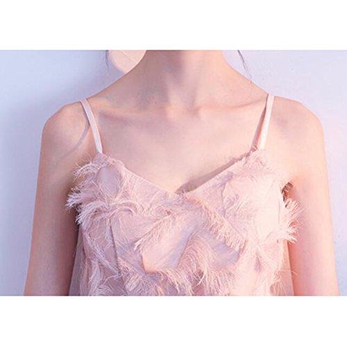 gediegene Atmosphäre Weiblich Elegante Sexy Rosa MoMo Abendkleid Rock Bankett Absatz Langen Edle Kleid Brautjungfer Rosa XpSgnf