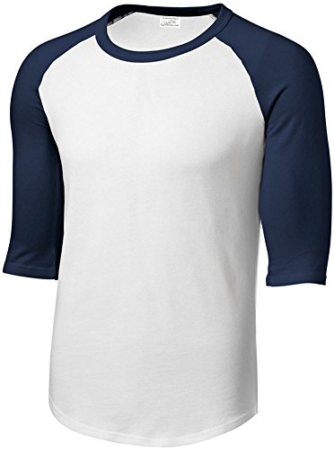 Joe's USA Mens Cotton/Poly 3/4 Sleeve Baseball Tee, M,White/Navy