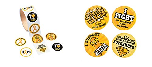 (100 Gold Childhood Cancer Awareness Stickers And And 1 Childhood Cancer Superhero Button)