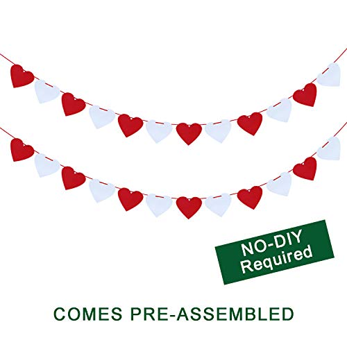 (Felt Heart Garland Banner - NO DIY - Valentines Day Home Decor -Valentines Decorations - Valentines Hanging Banner-Valentines Party Decorations - White &)