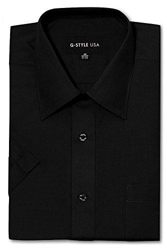 Color Shirt Black Pants (G-Style USA Men's Regular Fit Short Sleeve Solid Color Dress Shirts - Black - 3XL/19-19.5)
