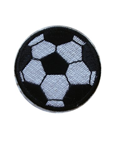 - 2pcs SOCCER BALL Iron On Patch Applique Motif Fabric Children Football Sports Decal dia. 1.9 inches (4.8 cm)