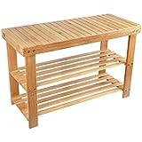 Shoe Rack Storage Bench Bamboo Seat Organizing Shelf Entryway Hallway  Organizer Furniture BAMBUROBA