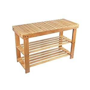 Shoe Rack Storage Bench Bamboo Seat Organizing Shelf Entryway Hallway Organizer Furniture by BAMBUROBA