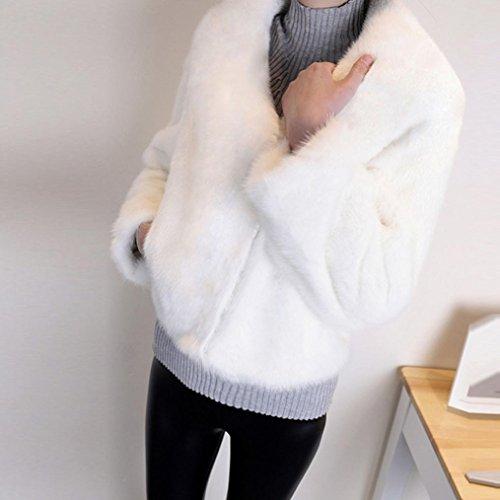 Abrigos Mujers Pieles Blanco Tefamore Chaleco Las Invierno Piel Abrigo Moda De Mujeres Sintética Chaqueta Uq66wx5zd