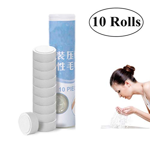 - HSCC Pure Cotton Compressed Towels - 100Pcs Toilet Paper Tablets Camping Wipes Coin Tissues for Home/Beauty Salon/Travel/Sports (10 Rolls - 100 Pcs)