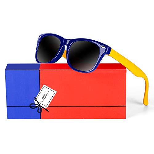 Kids Polarized Boys Girls Sunglasses-GOUDI Rubber Fashion For Children Sports Sunglasses Rubber Frame Age 2-10(Dark blue/yellow) (Childrens Fashion Sunglasses)