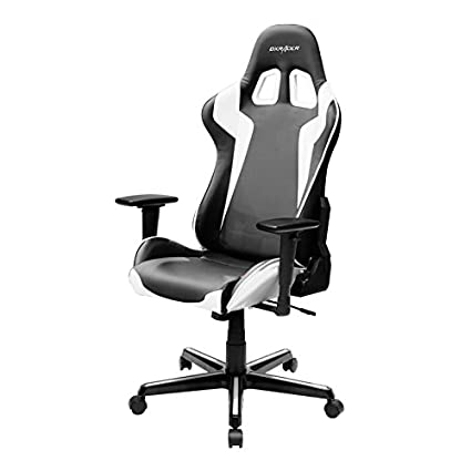 DXRacer FH00/NW Black White Racing Bucket Seat Office Chair Gaming  Ergonomic With Lumbar Support