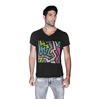 Creo Abstract 01 Retro Printed T-Shirt For Men - S, Black