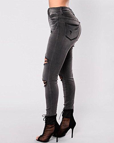 Crayon Pantalon Stretch Taille Jeans Haute Dchirs Pantalons Skinny Denim Slim Noir Femme qw8Cx0tx