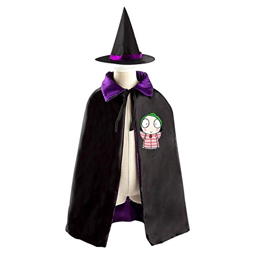 Double Dare Costume Ideas (Halloween Sarah-Duck Wizard Witch Kids Childrens' Cape With Hat Party Costume Cloak purple)