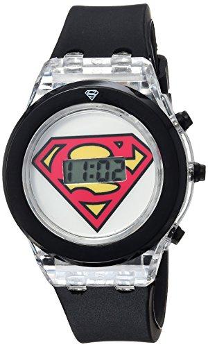 DC Comics Girl's Quartz Plastic and Rubber Casual Watch, Color:Black (Model: SUP4013)