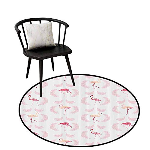 - Absorbent Round Rug Flamingo Decor Collection for Bedroom Flamingos Walking Eating Standing Pattern with Flying Feathers Illustration Art Crimson Pink White D31(80cm)