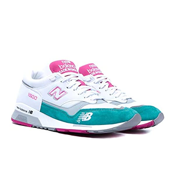 New Balance Made in UK M1500 White with Teal & Pink Suede Trainers