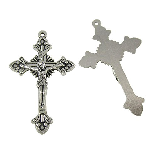 100pcs of 2 Inches Antique Silver Catholic Flared Sunburst Rosary Crucifix Cross