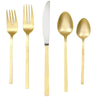 Cambridge Silversmiths Conversation Gold/Satin 20-Piece Flatware Set, 18/0 Stainless Steel