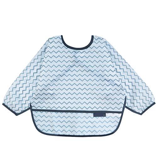 JNINTH.Long Sleeved Bib with pocket Baby Bib Toddler Bib Smock, Waterproof Washable Stain 6-18/18-42 Months toddlers (white stripe, 6-18-S)