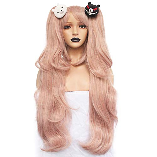 Anogol Hair+Cap Light Pink Cosplay Wig Long Synthetic Wig For Girls Costume Party Costume Party Halloween Wig With Hair Accessory -